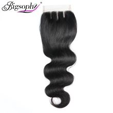 Bigsophy Brazilian Body Wave Closure 4*4 Human Hair Lace Closure With Baby Hair Free Middle/Three/Part 100% Human Remy Hair