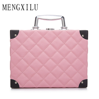 MENGXILU Women Multifunctional Large Cosmetic Bag Portable Plaid Capacity Cosmetic Case Decoration Professional Makeup Bags