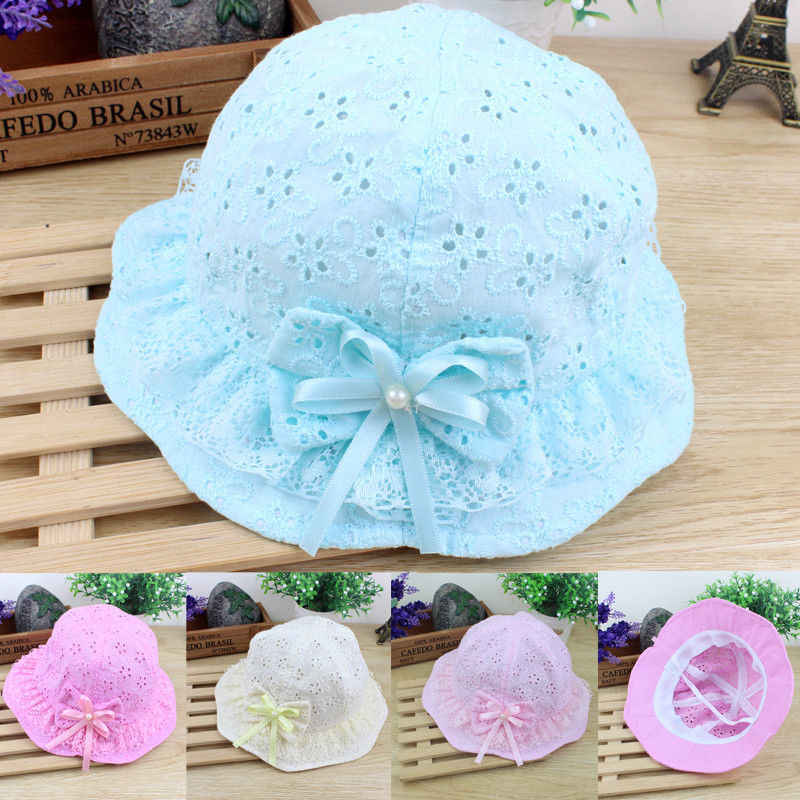 Flower Baby Girls Caps With Bow Mesh Lace Princess Infant Kids Beach Bucket Hats Toddler Girls Sun Hats Children Trip Caps