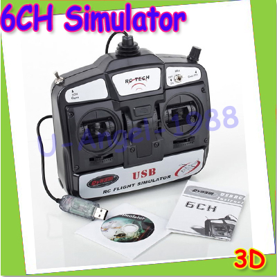 ФОТО New 6CH USB 3D RC Helicopter Airplane Flight Simulator Beginner Flying practice left /right hand for choose+free shipping