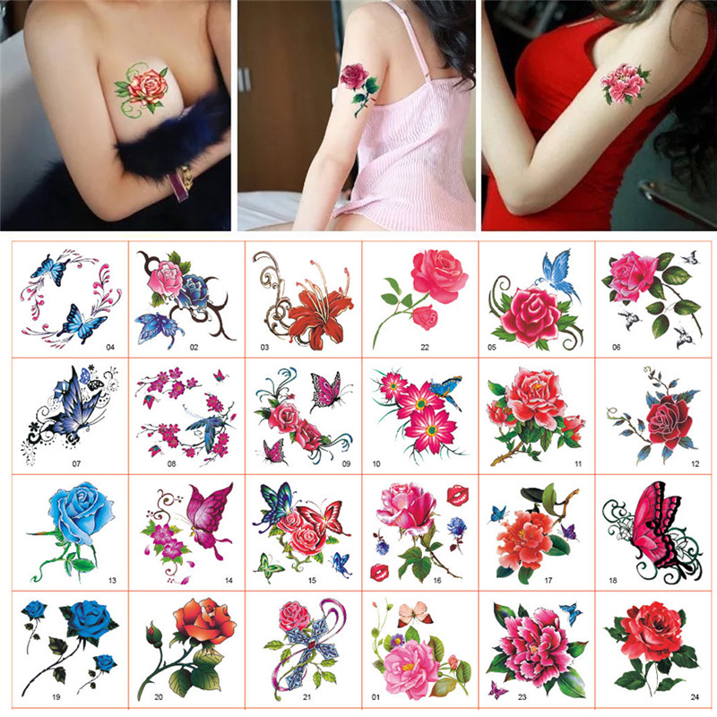 52Pcs/Set Sexy Rose Flower Temporary Tattoo Hot Small Cute Star Tattoo Sticker Love Women Body Finger Art Waterproof Stickers