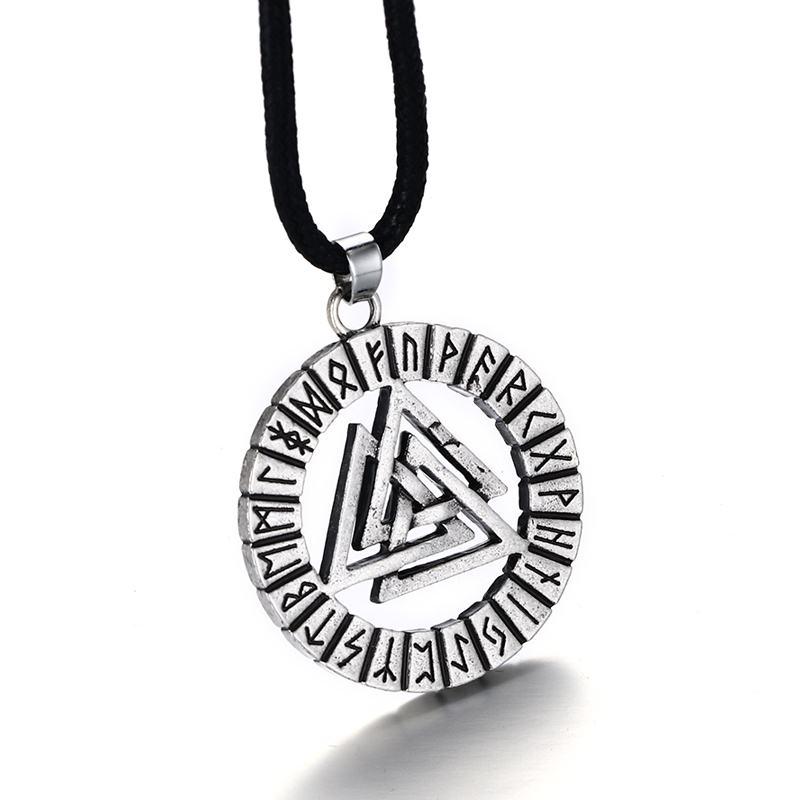 Mens Norse Viking Valknut Rune Pendant Necklace Nordic Asatru Vintage Nordic Talisman Stainless Steel Men Jewelry Rope Chain