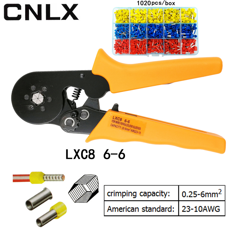CNLX LXC8 6-6 0.25-6 mm2 23-10 AWG crimping pliers with 1020pcs tube type needle type terminal crimp hexagon mini tools ct 150 bs standard type terminals terminal crimping tool 16 150 mm2