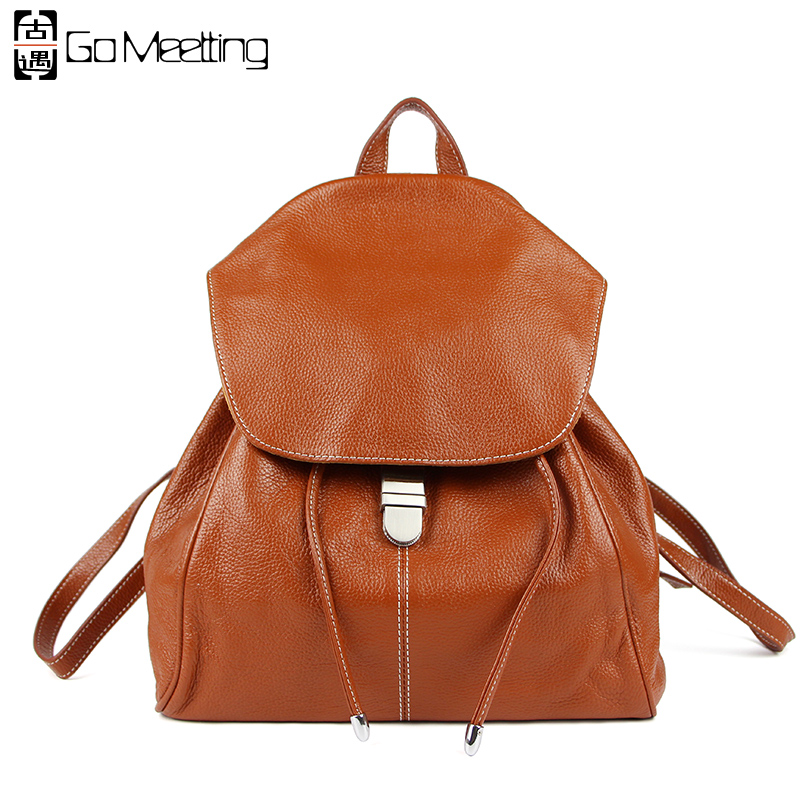 Go Meetting Women Genuine Leather Backpack Brand Ladies Fashion Backpacks For Girls School Bags Leather Bagpack Drawstring Bag cardamom fashion leather backpack women bags cowhide leather bagpack with colorful patchwork backpacks for women