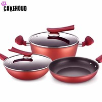 CAKEHOUD High Quality Non Stick Pan 6sets Cooking Tools Stainless Steel Cookware Set Stockpot Frying Pan