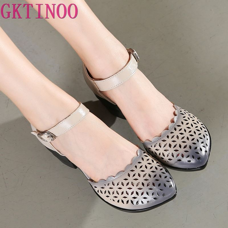 2019 Women Thick Heels Sandals Covered Toe Shoes Ethnic Style Summer Genuine Leather Hollow Women Sandal