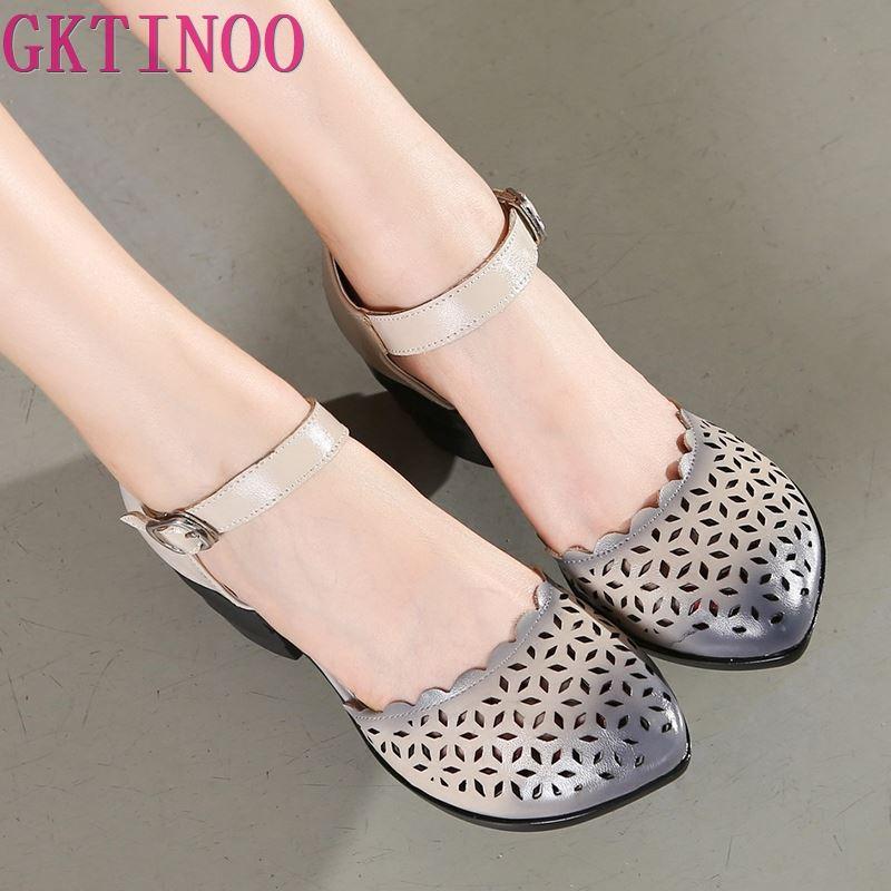 2019 femmes talons épais sandales couvertes orteil chaussures Style ethnique été en cuir véritable creux femmes sandale