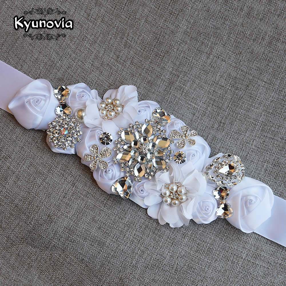 Kyunovia Crystal Wedding Belts Appliques Satin Flowers Sash