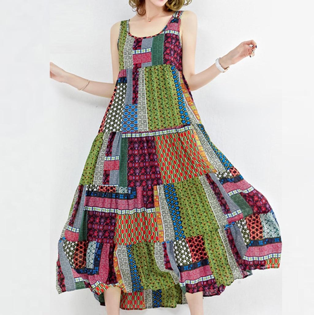 2019 MAXIORILL New Vintage Fashion Women Loose Sleeveless O-neck Irregular Print Retro Casual Dress платье Wholesale T3