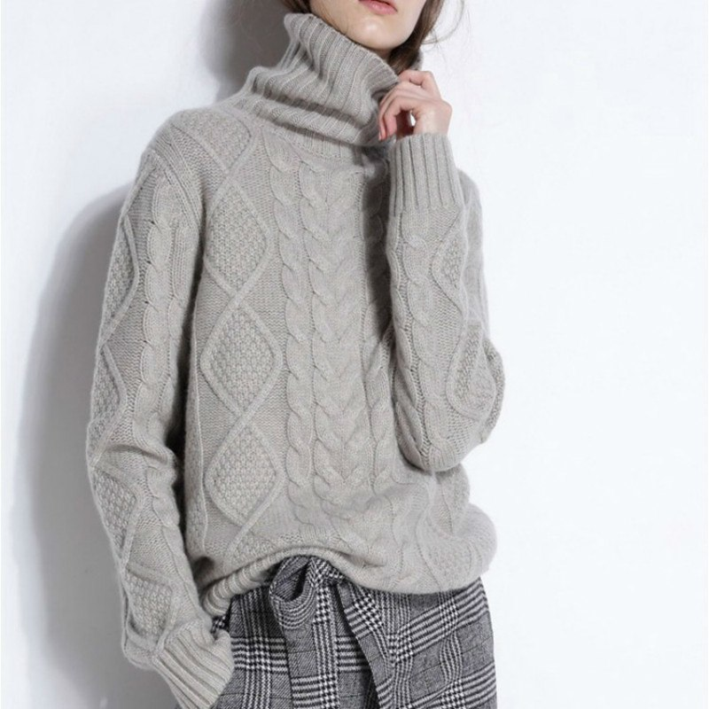 Autumn And Winter Fashion Twist Sweater Wool Neck Turtleneck Sweater Set Thicker Loose Twist Cashmere Knitted