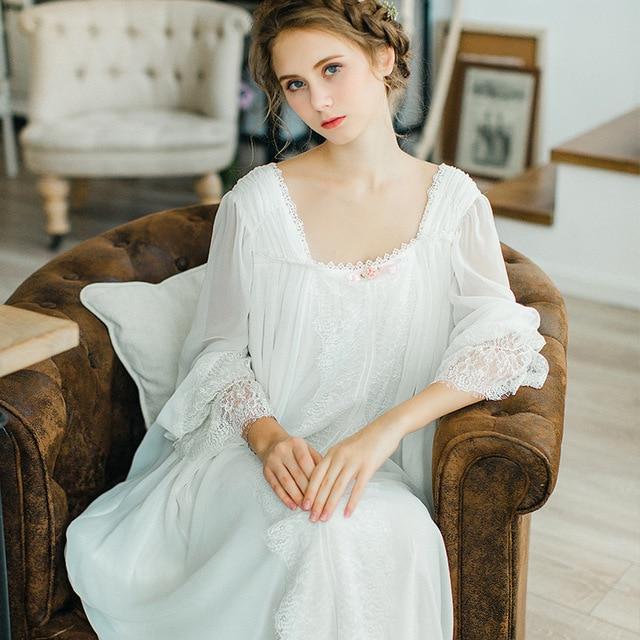 2017 New Retro Sexy Princess Chiffon Nightgowns sexy goddess long white  nightdress Home Clothing Women Dresses night dress 0454c003fedc