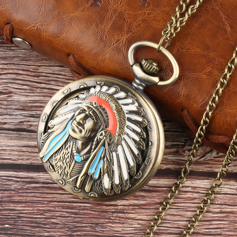 New Fashion Ancient Old Man Colorful Portrait Design Quartz Fob Pocket Watch Bronze Pendant Necklace Chain Souvenir Collectibles