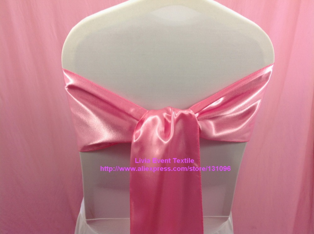Free Shipping 120pcs Rose Pink Satin Chair Sash 20x270cm For Wedding Events &Party Decor ...