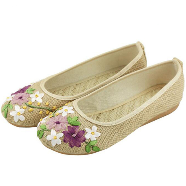 Chinese Women Flower Flats Slip On Cotton Fabric Casual Round Toe Oxford Ballet Shoes For Woman Linen Ballerina Flat Size 42