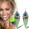 Ajojewel New Fashion Long Metal Chain European And American Luxury Multicolor Bohemia Tassel Crystal Earrings For Women