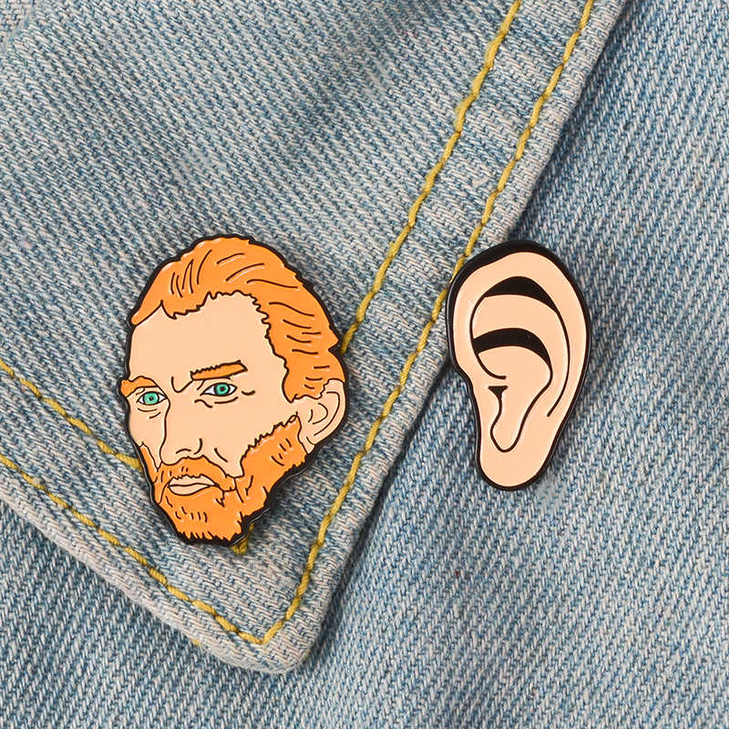 Vincent Van Gogh dan Telinga Pin Seniman Kartun Pelukis Bros Enamel Pin Kerah Pin Lencana Ikon Budaya Perhiasan Hadiah untuk teman
