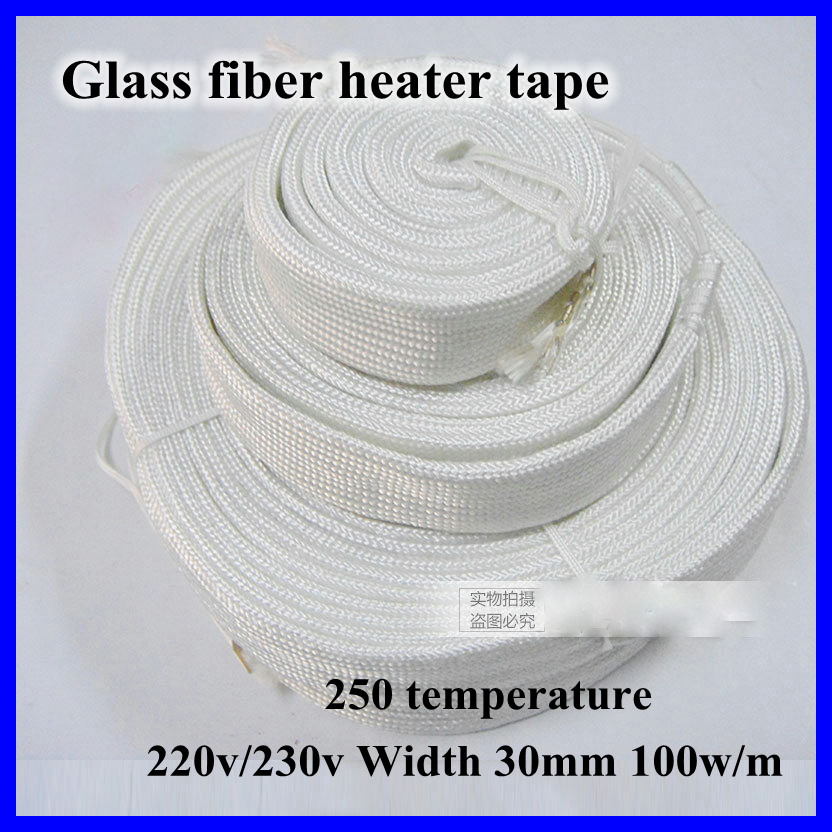 Glass Fiber Heating Tape 220v/230v Width 30Mm 100W/M 250 Temp For Dry Water Pipe Electric Heater Wire Band Belt Free Shipping free shipping 3 pc ac 220v 150w 150 watt stainless steel electric band heater 50mm x 30mm customized