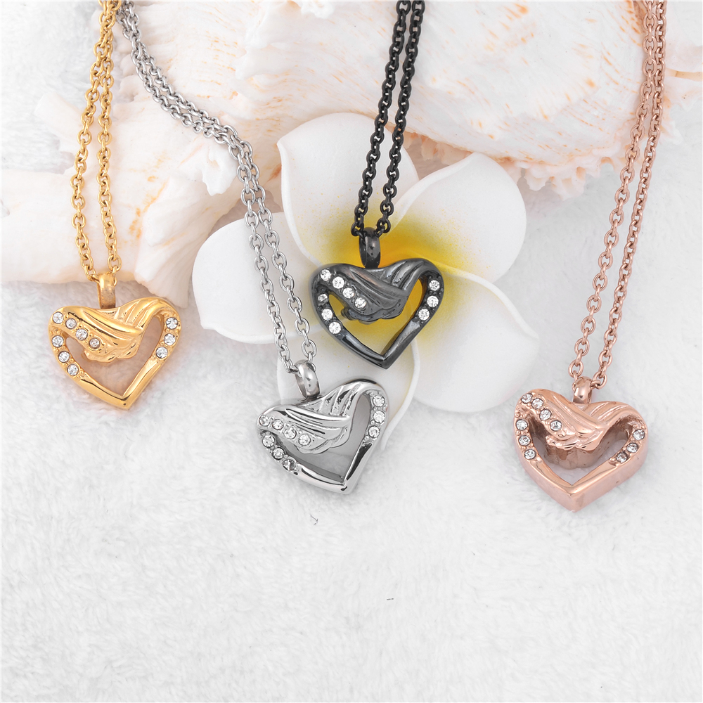 Angel Wing Urn Necklace: Crystal Angel Wings Heart Urn Necklace Memorial Jewelry