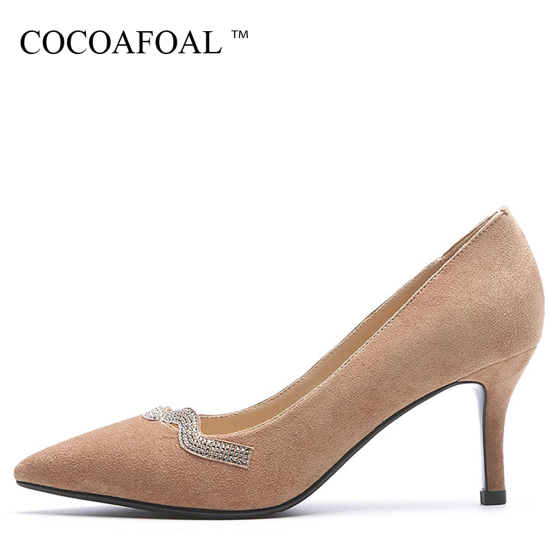COCOAFOAL Woman Crystal High Heels Shoes Apricot Black Fashion Sexy Stiletto High Heels Shoes Genuine Leather Pointed Toe Pumps cocoafoal woman pointed toe pumps pink black brown fashion sexy high heels shoes snakeskin genuine leather career pumps 2017