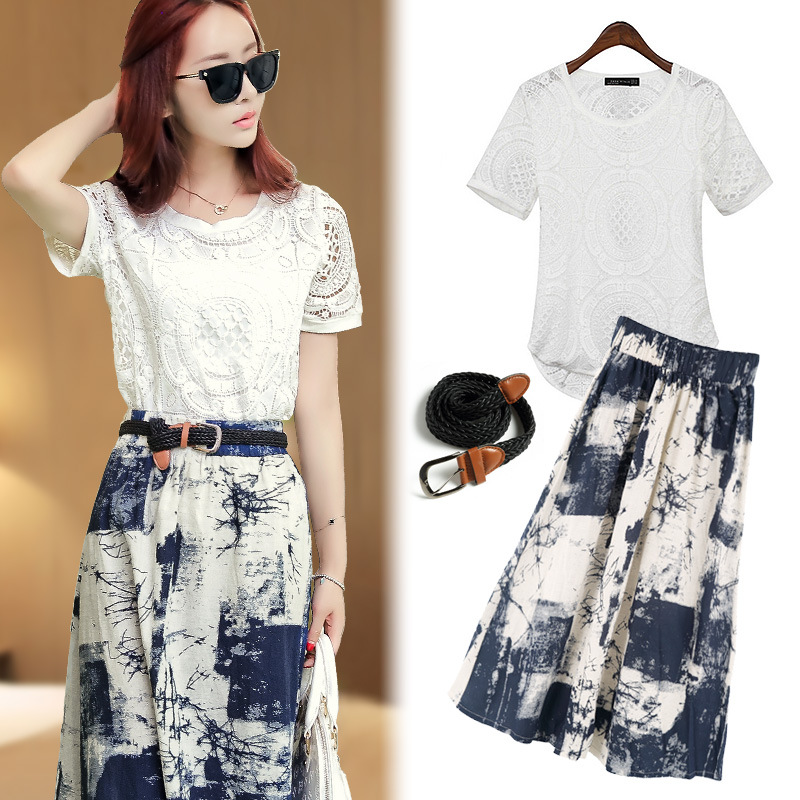 plus size blue white print 2016 short sleeve blouse belt font b dress b font ladies