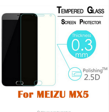 2.5D zero.3mm tempered glass For Meizu MX5 display protector guard movie entrance case cowl +clear kits