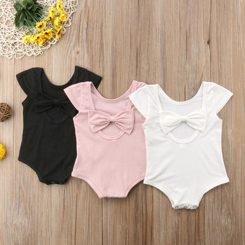 2018 Brand New Summer Casual Toddler Baby Girl Romper Short Sleeve Solid Back Bow Jumpsuits Romper Btief Outfit Wholesale 0-24Ms 1