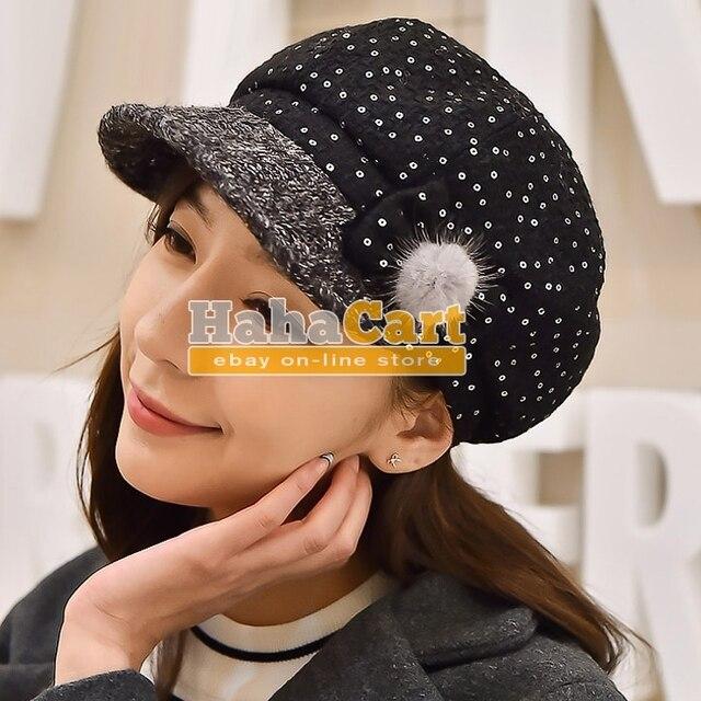 Tela de lana boina moda tapa vestido pintores Cap otoño e invierno sombrero  de la mujer 48d936a81cb