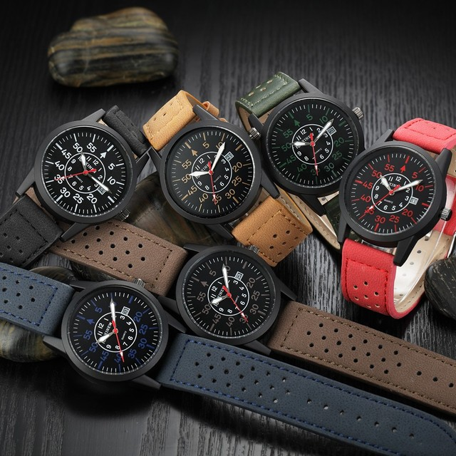 Drop Shipping Watch Vintage Classic Men's Waterproof Date Leather Strap Sport Quartz Army Watches Fast Send Free Shipping c920