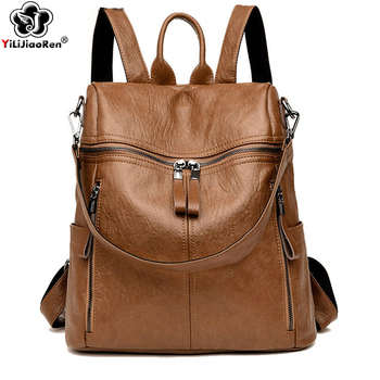 Vintage Backpacks Female High Quality Pu Leather Backpack Women Big School Bags for Teenage Girls New Travel Back Pack Women цена 2017