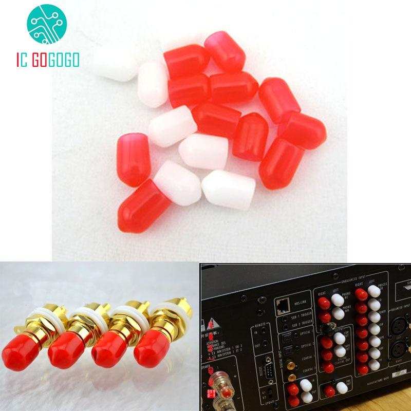 100PCS Protective Cap Anti-dust Silicone Cover Set RCA Lotus Loudspeakers Audio