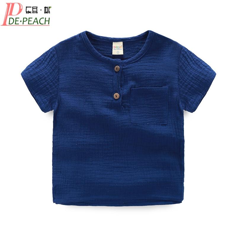 Summer Solid Color Baby Boy Girl t shirt Cotton Yarn Fold