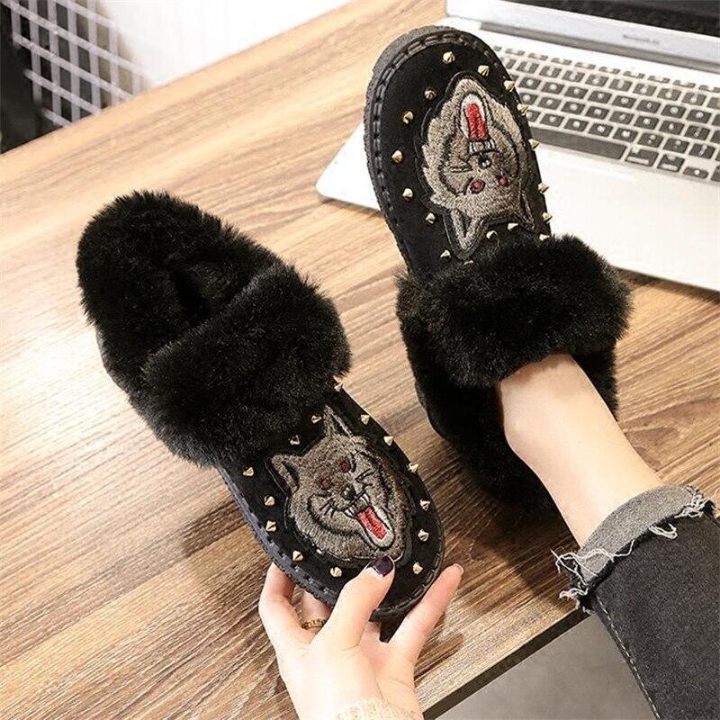 Pelusa Botas De Flats Nieve Mujeres Piel 35 2 1 Zapatillas Tamaño Felpa La Del Nuevas Invierno Suede 2019 Bordado 40 Cálido n0vfqx