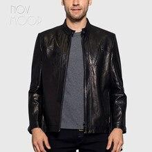 Winter autumn men black genuine leather real goatskin tanning leather  jackets coats deri ceket jaqueta de couro LT2439 FREE SHIP 353535856