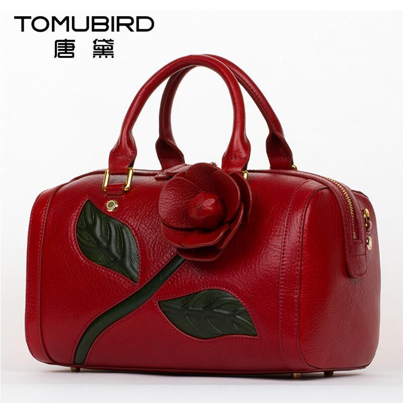 2017 New women genuine leather bag brands quality luxury dimensional flowers women leather handbags shoulder bag pillow bag