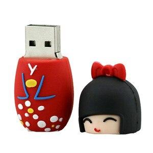 Image 5 - Karikatür USB Flash sürücü japon bebek Kimono kız kalem sürücü 4GB 8GB 16GB 32GB 64GB 128GB USB 2.0 Flash bellek sopa kalem sürücü