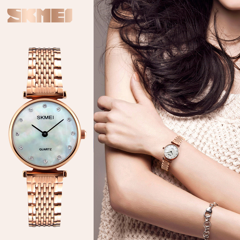 цена на SKMEI Fashion Quartz Watches Women Casual Dress Girls Wristwatches Rhinestones Rose Gold Silver Ladies Watch relojes mujer 2018