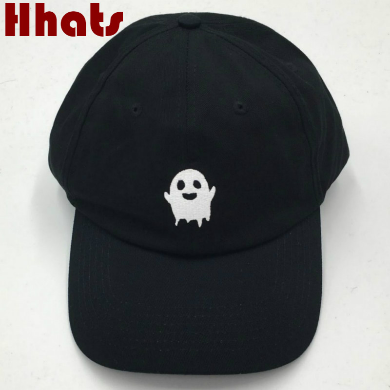 which in shower Embroidered Black Emoji Dad Hat Ghost   baseball     cap   hip hop women men snapback trucker bone k op male   cap