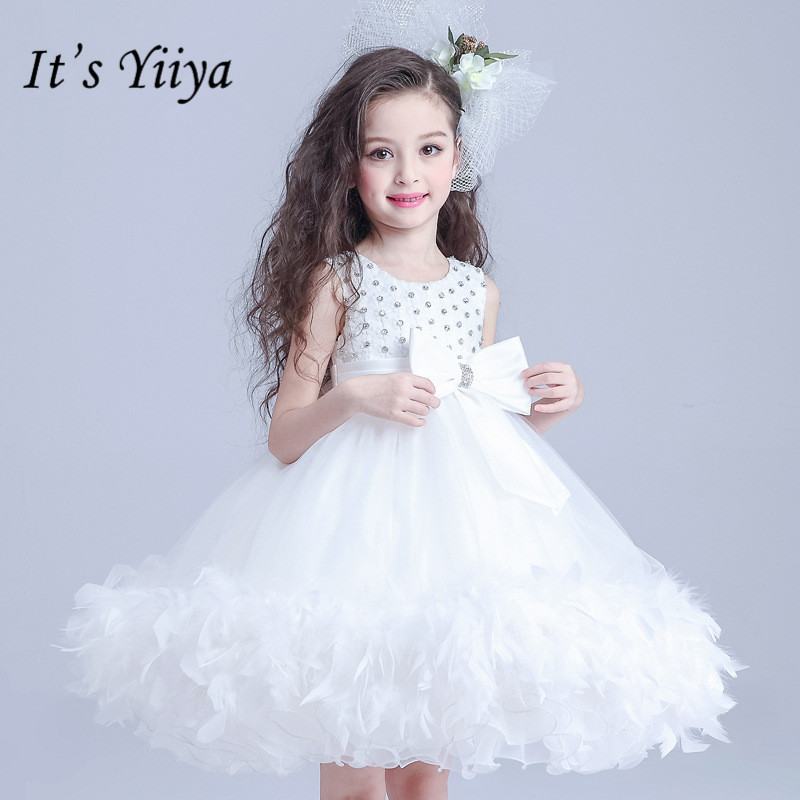 It's yiiya Lace Embroidery White   Flower     Girl     Dresses   Summer O-neck   Girls     Dress   Simple Bow Princess Ball Gown TS273