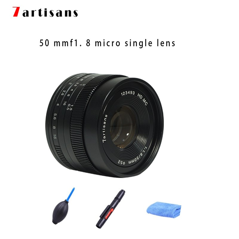 7artisans 50mm F1.8 Manual Focus Prime <font><b>Lens</b></font> for Sony E-mount / for Micro 4/3 Cameras A6500 A6300 A6000 A7 X-A1 X-A2 E-PL1 E-PL2 image
