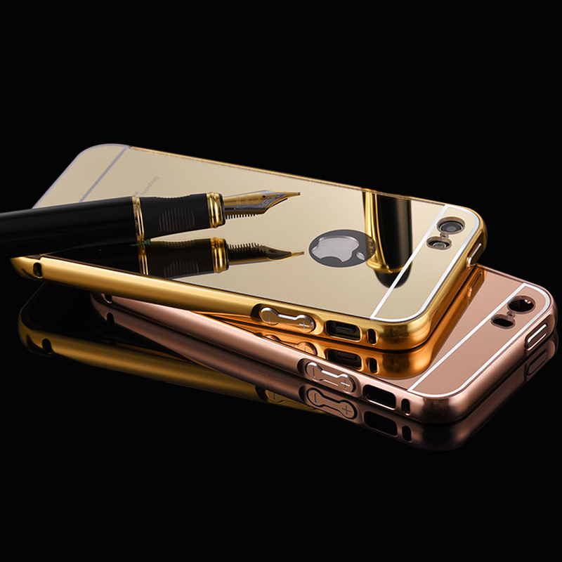 For iPhone 5 Case Mirror cover Aluminum Luxury Case For Apple iPhone 5 5S Ultra Thin Gold Plated Metal Frame Hard Back Cover <(