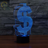 Dolllar Shape 3D Night Light Indoor Led Lamp Night Lighting 7 Color Changing Led Desk light Usb Lamps