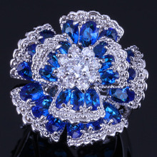 Tantalizing Huge Flower Blue Cubic Zirconia White CZ 925 Sterling Silver Ring For Women V0534