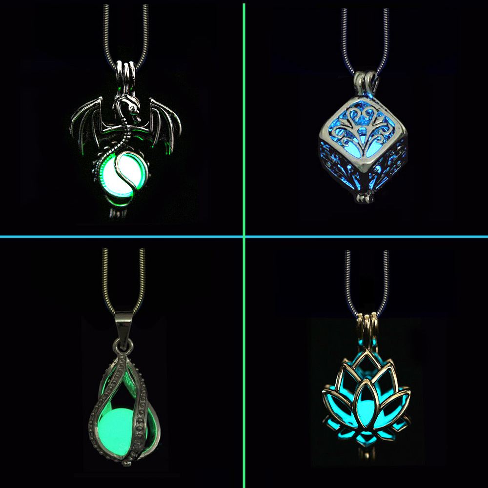 Novel DIY Cage Glow In Dark Necklace Diffuser Locket Pendant Necklace For Men Women Party Hallowen Gifts Essential Oil