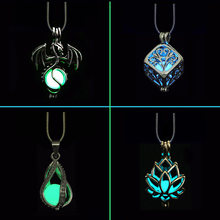Novel DIY Cage Glow In Dark Necklace Diffuser Locket Pendant Necklace For Men Women Party Hallowen Gifts Essential Oil(China)