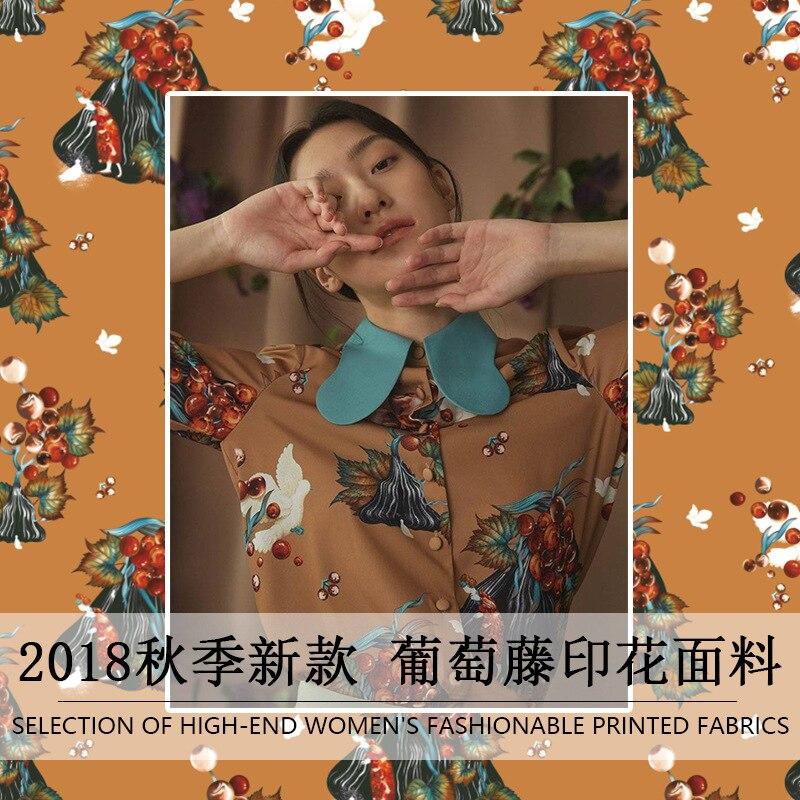 2019 Primavera y novedad de verano alta calidad diseño de vid marrón impresión ropa camisa hecha a mano DIY tela para vestido 145cm de ancho