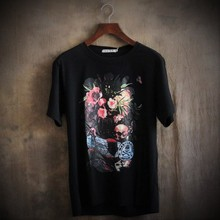 Mens T Shirts Fashion 2016 Summer Rose Flower And Skulls Novelty T Shirt Men T Shirt Brand High Quality Rock Tshirt Men Hip Hop