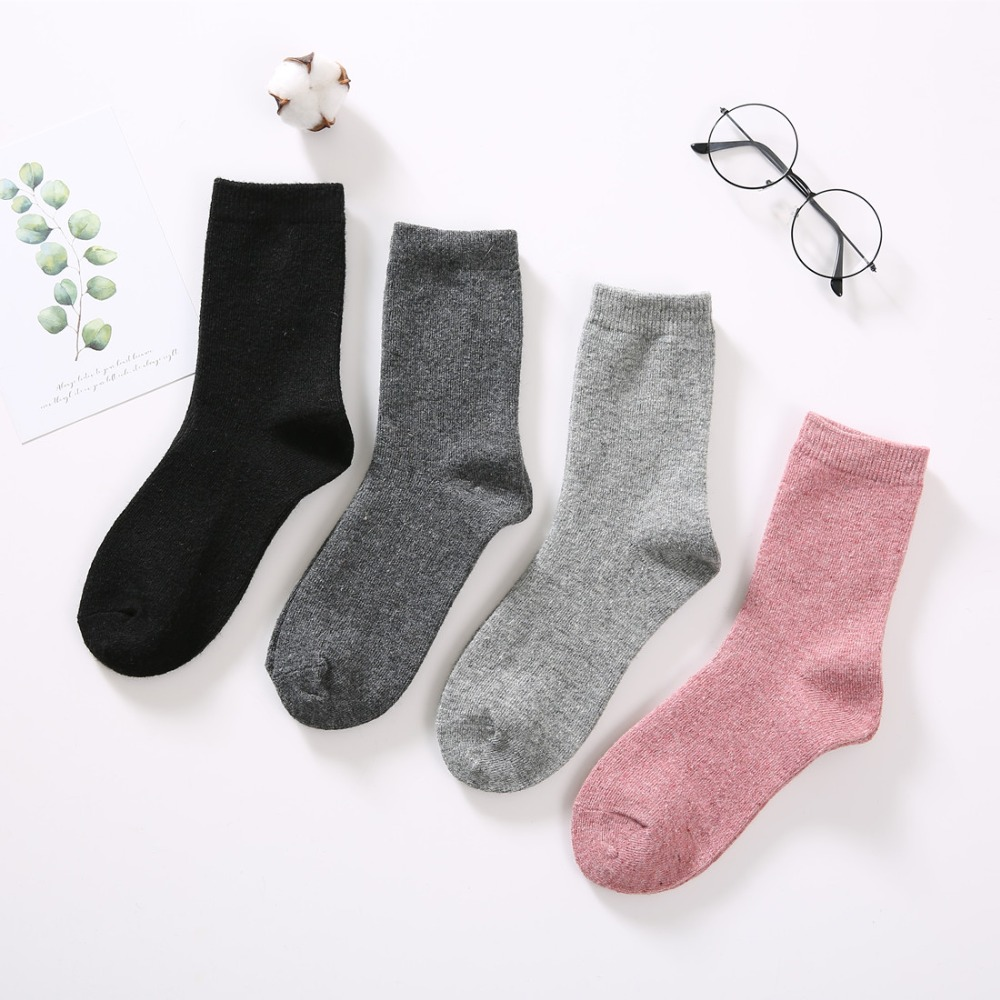 6767a1182 WANDER Autumn Winter Women s Rabbit Wool Thick Pure Color Angora Wool Socks.Ladies  Soft Warm Short Socks Basic Sox -in Socks from Underwear   Sleepwears on ...