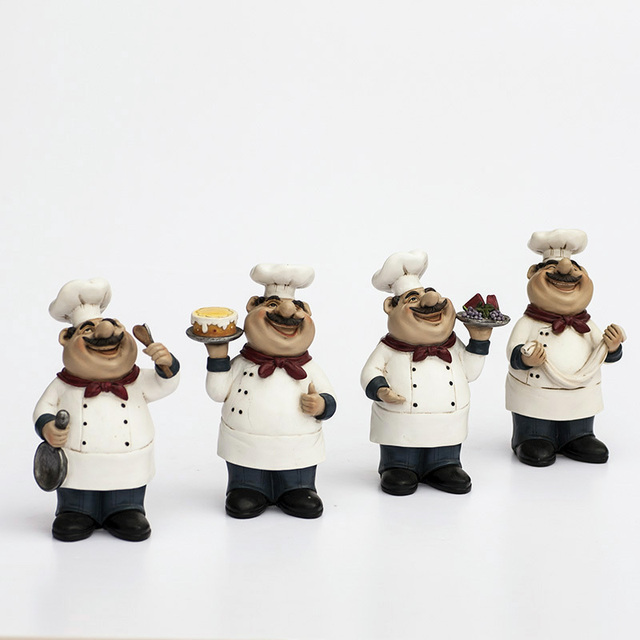 AIBEI Europe Style Resin Chef Kitchen Decor Figurine1PC Wine Coffee Sweets  Cake Shop Restaurant Decoration