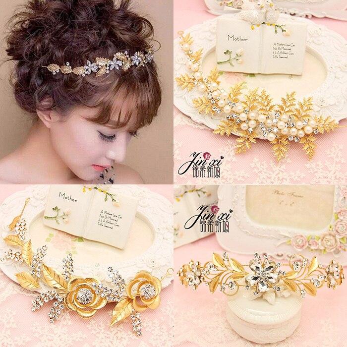 Bride Gold Hairband Soft Chain Wedding Dress Crown HairHoop Headwear Rhinestone Pearl Wedding Jewelry Bride/Modeling Phtoograph