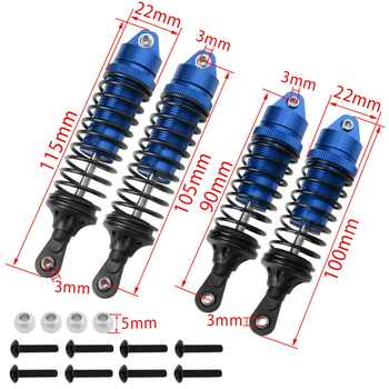 4pcs For 1/10 Traxxas Slash 4x4 2wd Alloy Front & Rear Shock Absorber Springs Upgrade Parts RC Car Replacement